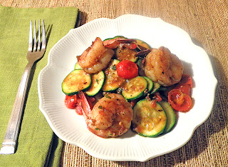 Plate of Stir Fried Shrimp with Zucchini and Tomatoes