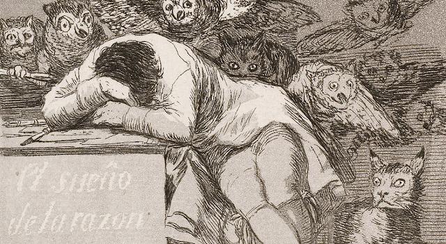 """Fragmento del grabado: """"El sueño de la razón produce monstruos"""""""