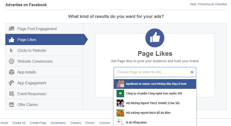 chọn page like bạn muốn
