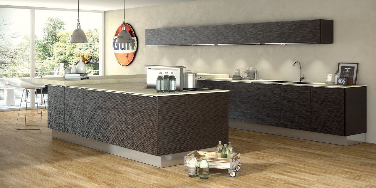 Cuisine marron for Bar de cuisine design