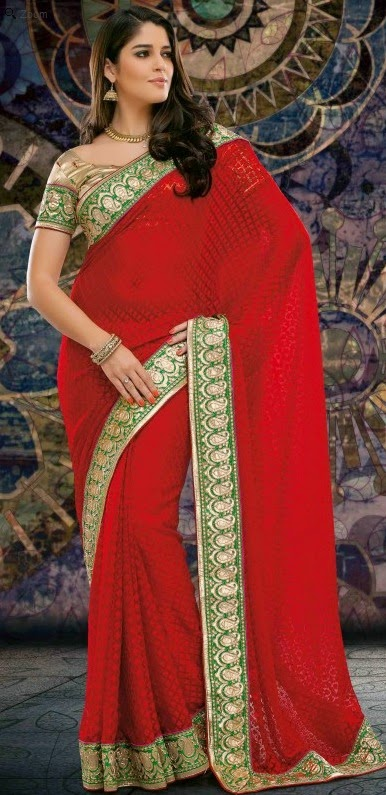 Brasso Red Designer Embroidery Saree with Unstitched Blouse