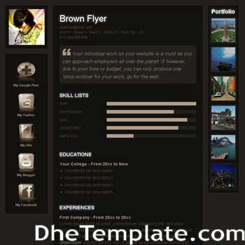 Brown Flyer blogger template. portfolio blogspot template