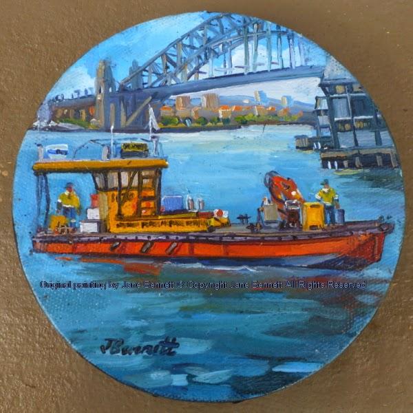 plein air oil painting of the 'Poolya' work boat near the Sydney Harbour Bridge by artist Jane Bennett