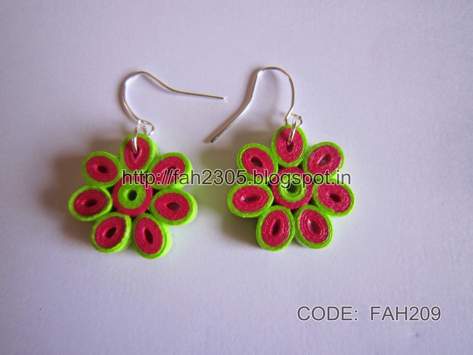 Fah Creations: Paper Quilling Flower Earrings (Code : FAH209)