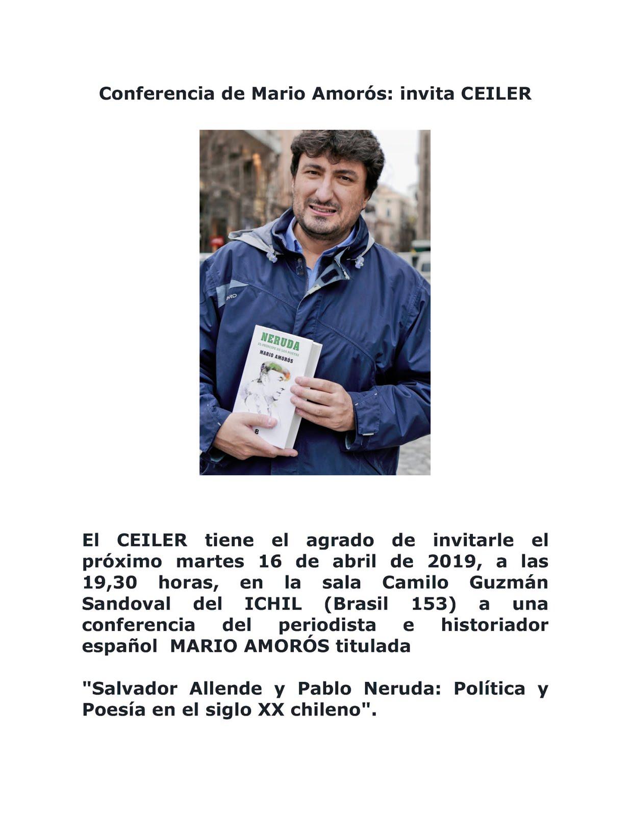 Conferencia de Mario Amorós: invita CEILER