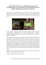 Mensaje de apoyo a José Ramón, despedido por Setex Aparki en Jerez de la Frontera, emitido por Kell