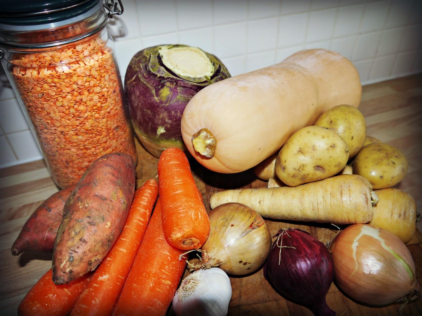 lentils, vegetables