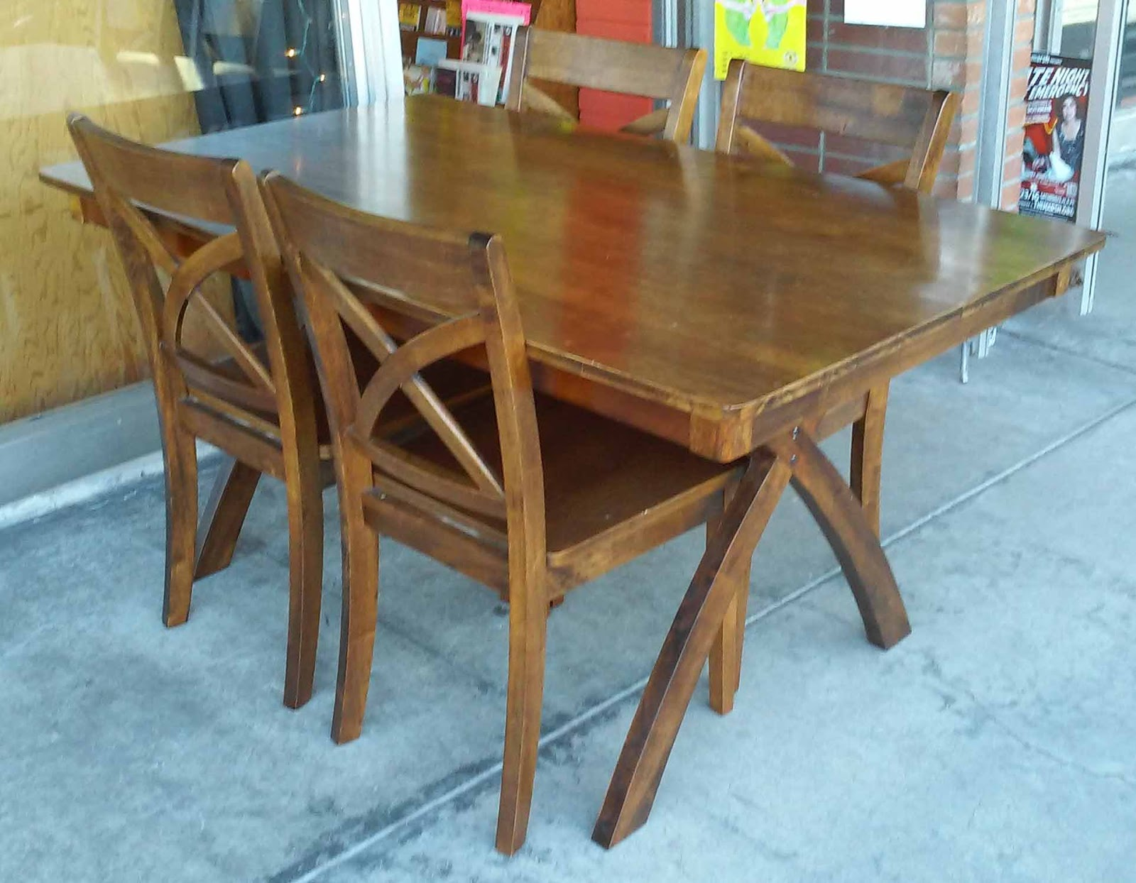 uhuru furniture collectibles sold asian teak butcher block dining set table and 4 chairs. Black Bedroom Furniture Sets. Home Design Ideas