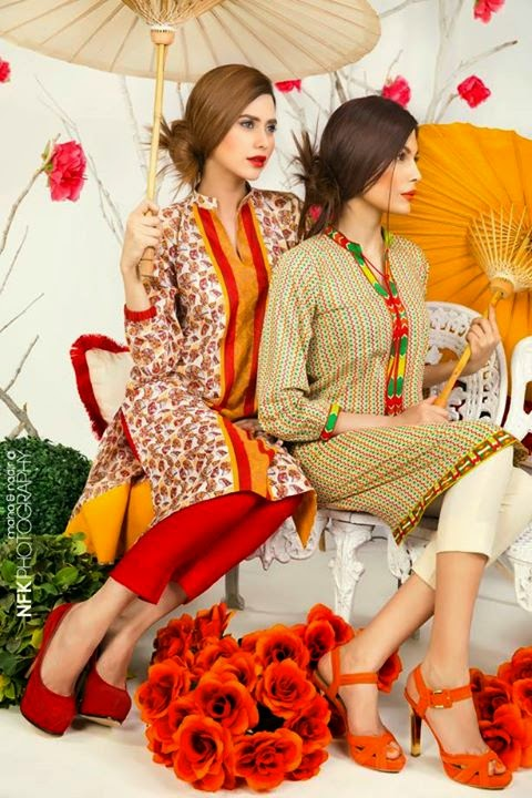 The Colors of Spring Bonanza Pret Lawn sadaf kanwal , amna babar