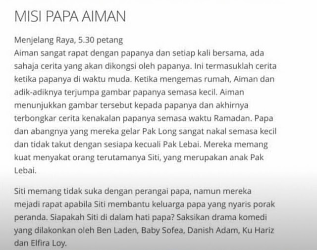 Telemovie Misi Papa Aiman TV3 & TV9