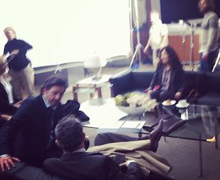 Sandra Oh and Patrick Dempsey On The Grey's Anatomy Set