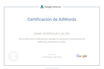 Certificado Google AdWords Jaime Rodriguez Jalon y Olea