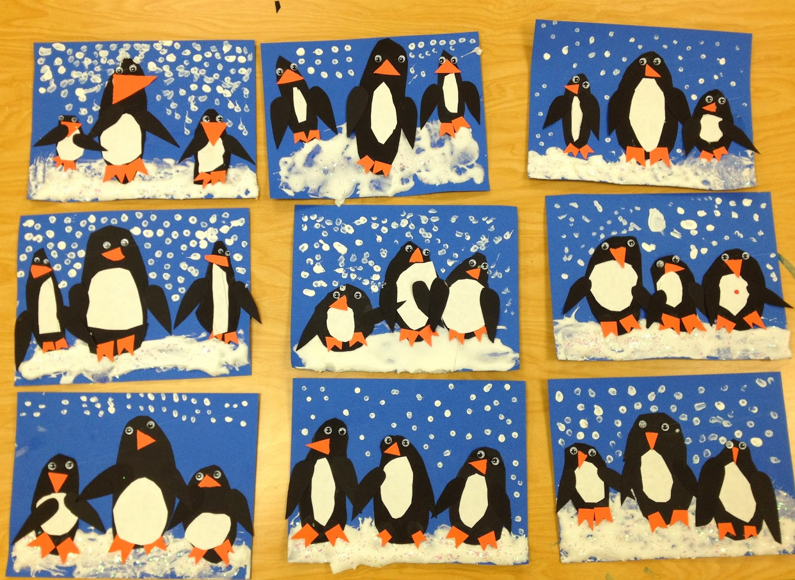 First grade students enjoyed creating penguin families. They painted with  shaving cream and glue to form snow. They painted with a q-tip to create ...