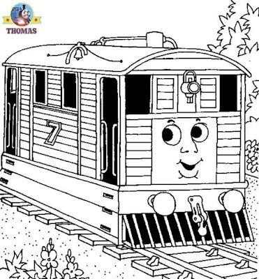 Thomas the tank engine coloring pictures for kids to print and color Toby the tram engine printables