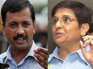 Arvind Kejriwal Kiran Bedi image for Bright Sparks blog of Sandeep Manudhane