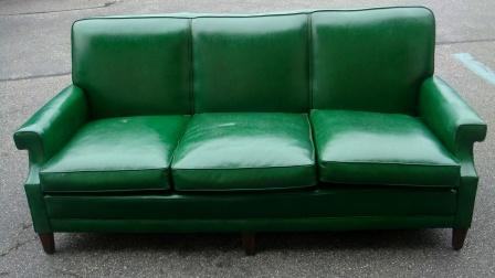 Vintage Green Vinyl Sofa W/ Nailheads!!! Dimensions : 79 Inches Length / 3  Ft Depth / 24 Inches Seat Depth