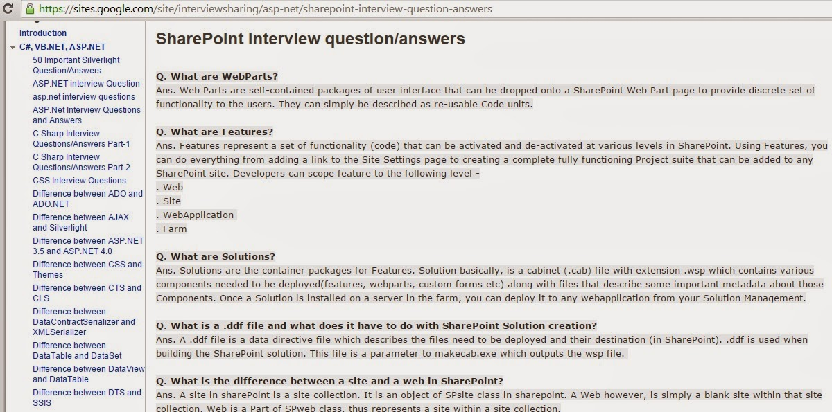 SharePoint Interview question answers