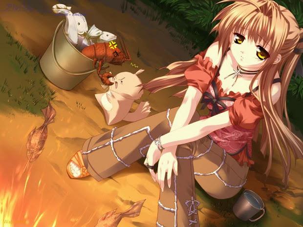 sad anime girl with brown hair