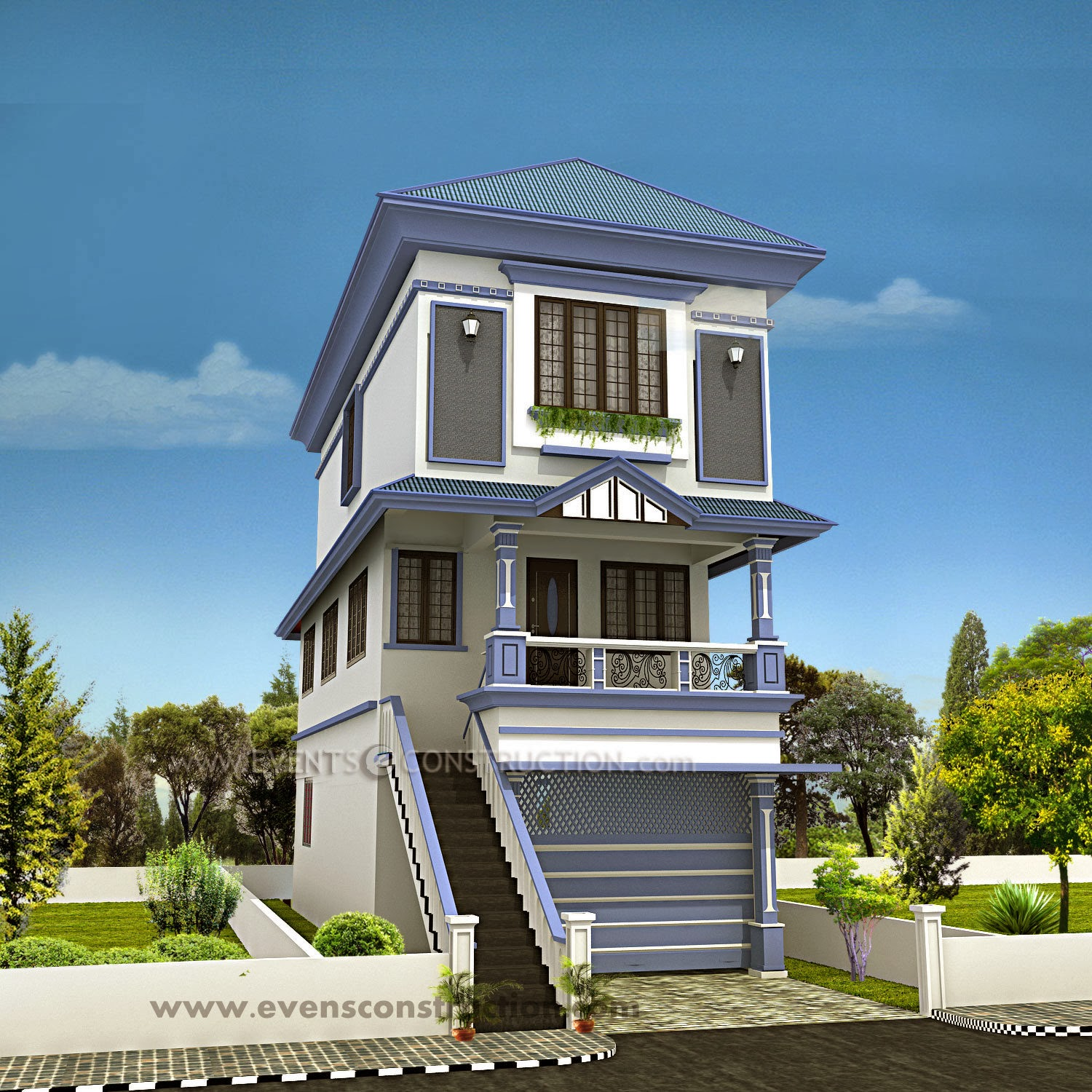 Evens Construction Pvt Ltd 2047 Square Feet Sloping Roof