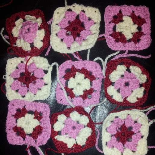 grany squares in pink