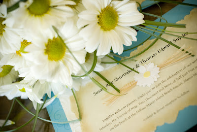 Beach Wedding Daisy Invitation Teal/Aqua Blue