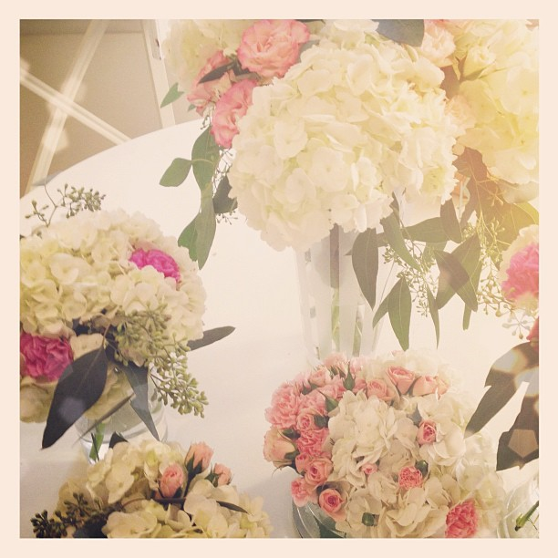 pink and white floral arrangements