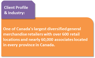 Client Profile & Industry: One of Canada's largest diversified general merchandise retailers with over 600 retail locations and nearly 60,000 associated located in every province of Canada.