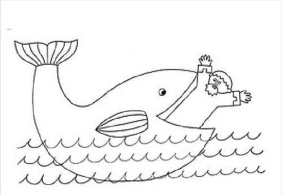 jonas y la ballena molde de este personaje biblico para colorear ...
