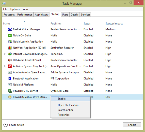 Remove startup items on Windows 8 using task manager