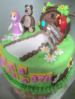 cake ultah gambar masha n the bear