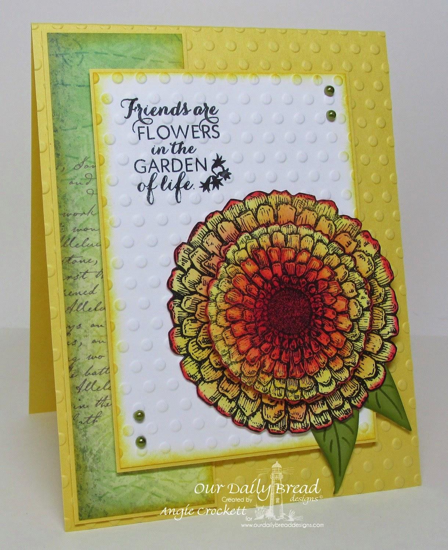 ODBD Zinnia, ODBD Custom Zinnia and Leaves Die Set, Blooming Garden Designer Paper Collection, Card Designer Angie Crockett