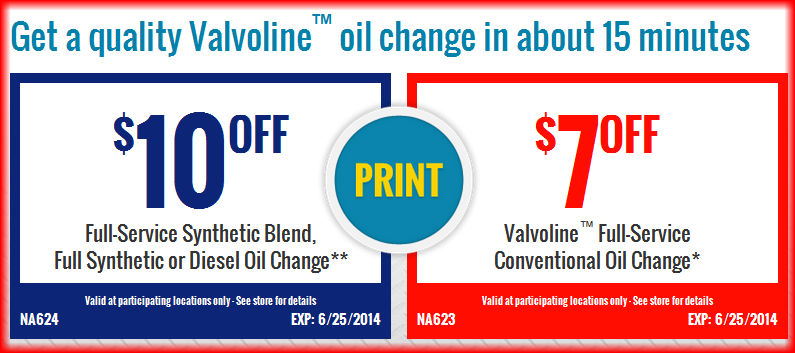 Valvoline Instant Oil Change Coupon July 2014 | Oil Change ...
