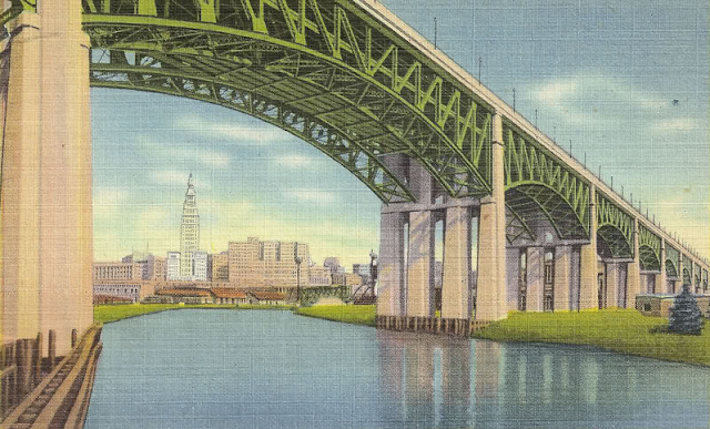 Lorain-Carnegie Bridge and Union Terminal, Cleveland, Ohio #vintage #cleveland #ohio