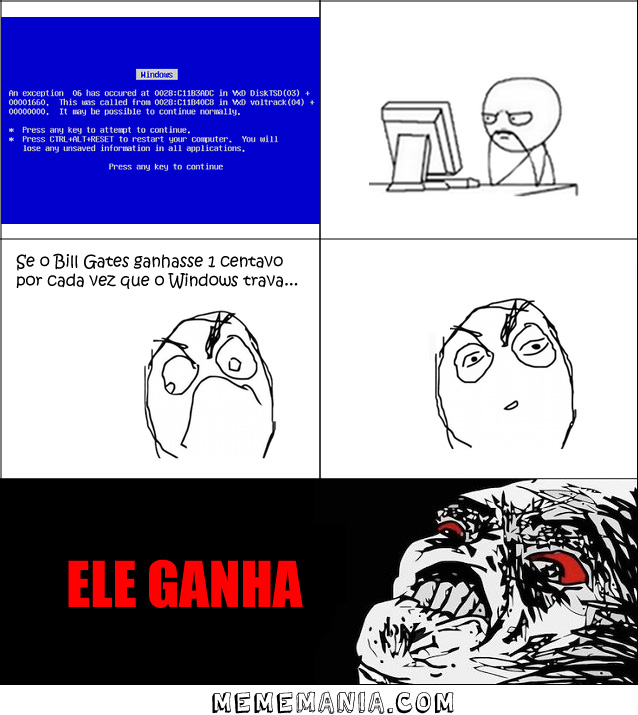 Bill Gates Windows Travar Tirinha Meme Memes