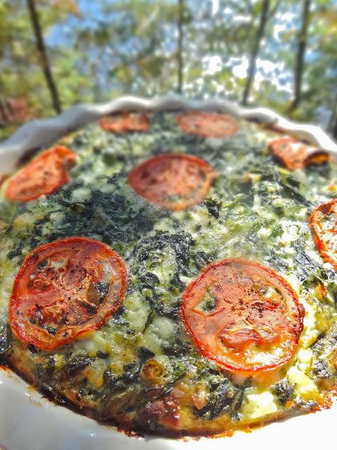 Scrumpdillyicious: Crustless Spinach & Cheese Quiche with Tomato
