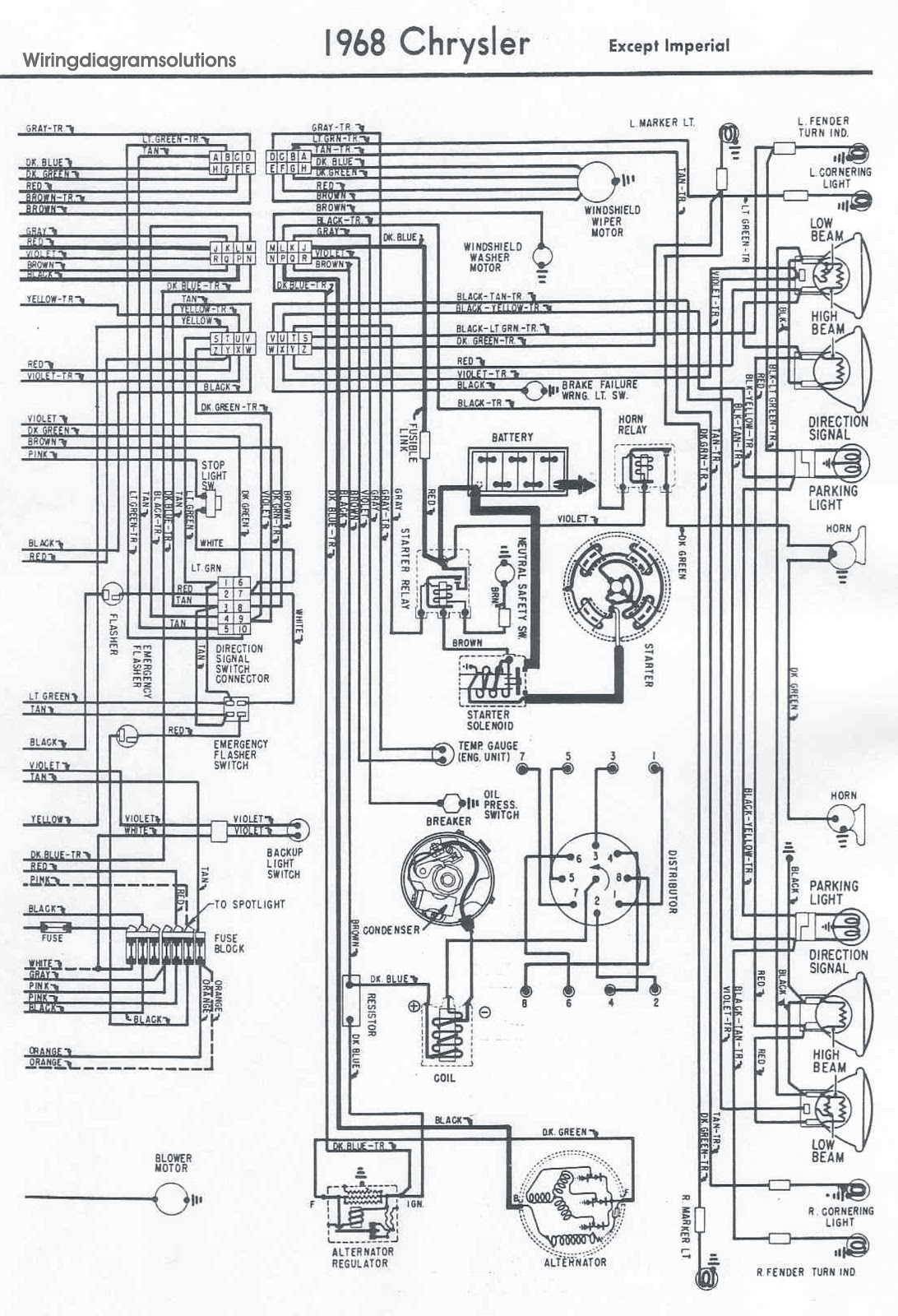 1968's Chrysler All Models Electrical Wiring Diagram ...