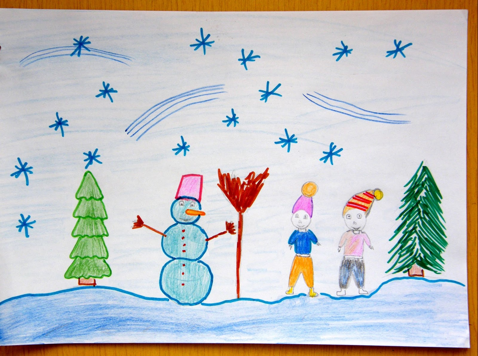 Зимний рисунок 1 класс