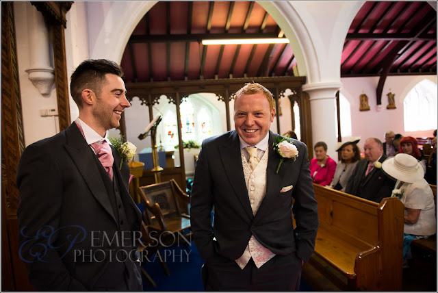 groom and best man waiting in church at a north east wedding in sunderland.