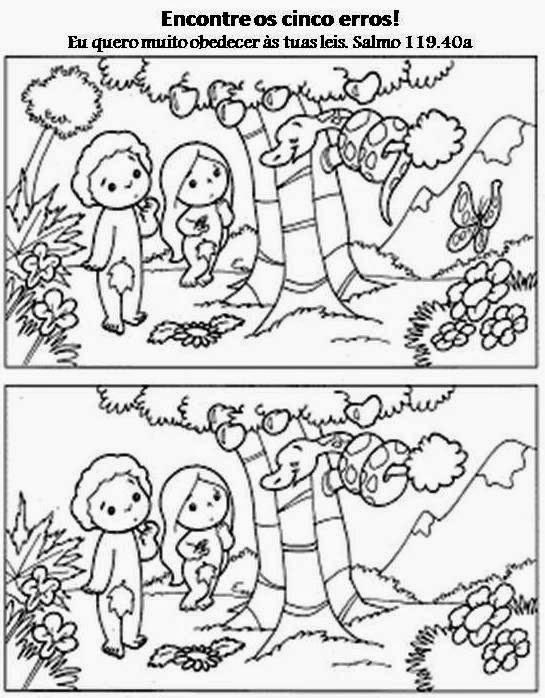 A desobediência de Adão e Eva - Atividade 5 erros