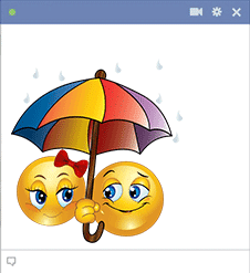 Smileys under umbrella