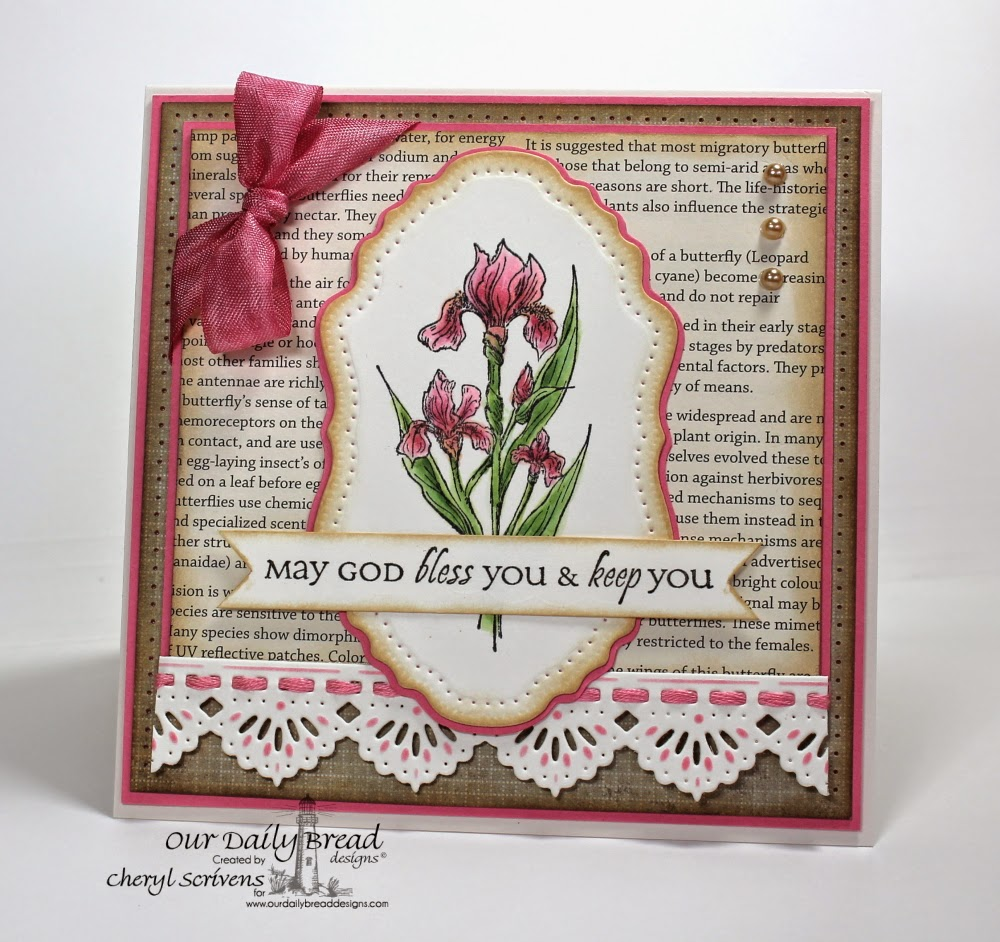 Our Daily Bread Designs, ODBDSLC206, Iris, All Occasion Sentiments, Beautiful Borders Dies, Vintage Flourish Pattern Dies, Beautiful Borders Dies, CherylQuilts, Designed by Cheryl Scrivens