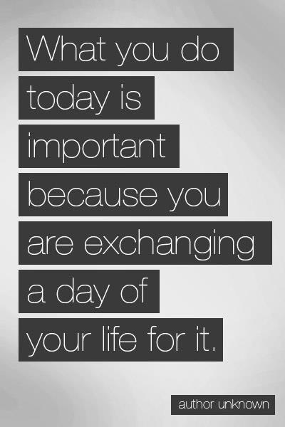 O que você está fazendo hoje deve ser importante, pois está consumindo um dia da sua vida.
