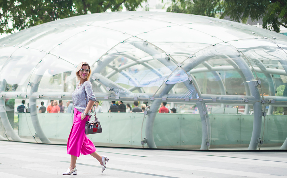 Crystal Phuong- Singapore Fashion Blog- Metallic sweaters and pink culottes