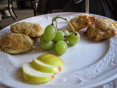 Vanilla cream scone and apricot ginger scone with grapes and apple ...