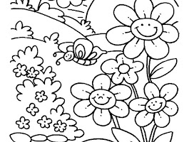 Coloring Flower Page With Butterfly Drawings