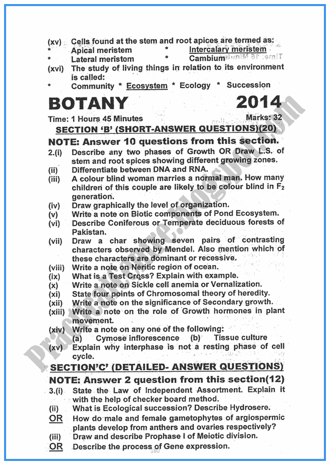 Botany-2014-Five-year-paper-class-XII