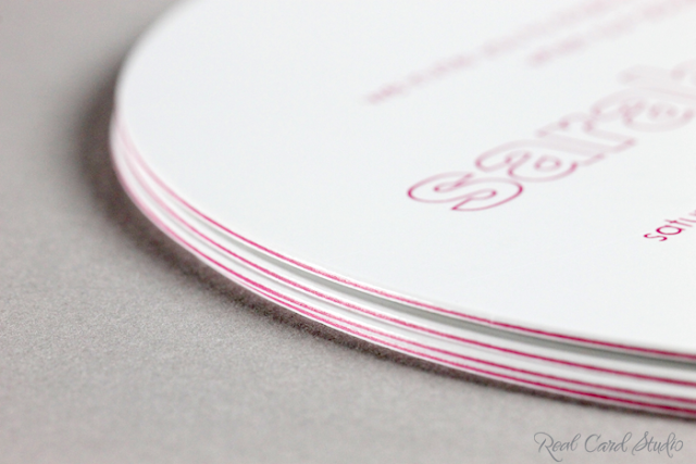 3-ply gloss white with fuchsia center duplex, diecut circle, foil printing