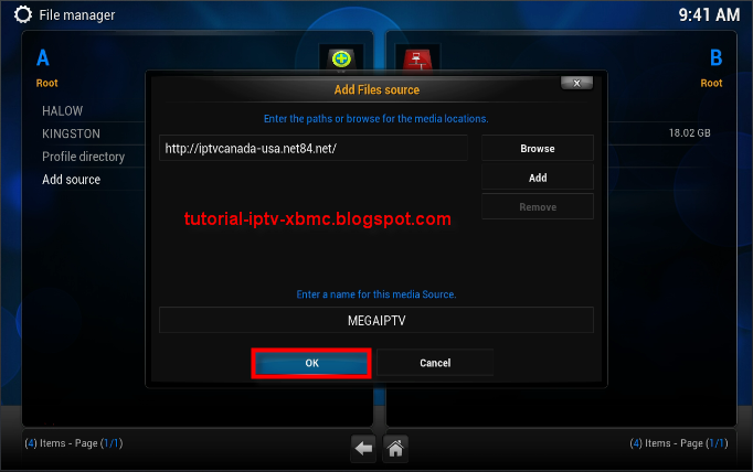 how to add back up to kodi settings