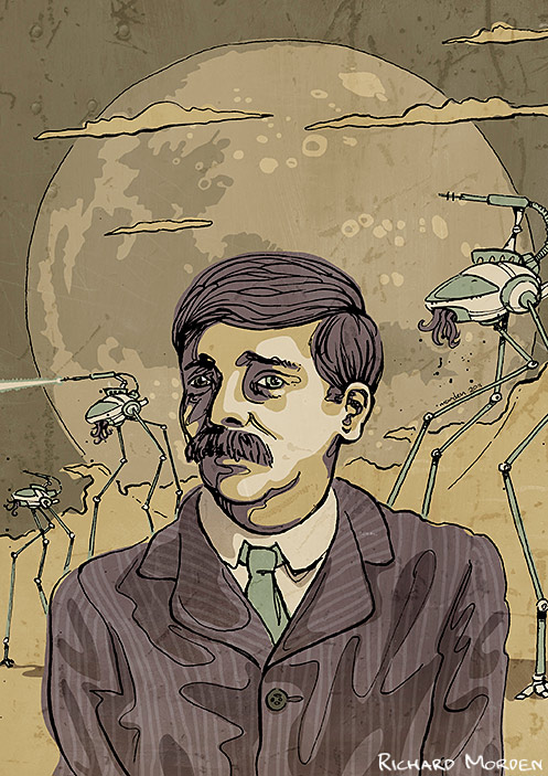 illustration of Herbert George Wells and his Martian walking machines