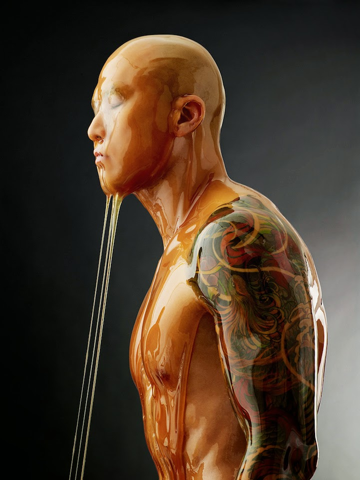 model covered in honey blake littles-2